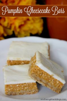 Pumpkin Cheesecake Bars - A yummy Fall recipe that will be perfect for the upcoming season! #desserts