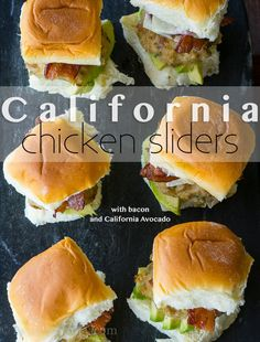 I can't even express how much I love these California Avocado Chicken Sliders. These mini chicken burgers are stuffed with caramelized onions, topped with cheese, bacon and more cheese. And of cour. Slider Sandwiches, Steak Sandwiches, Sliders Burger, Paella, California Chicken, Mezze, Slider Recipes, Burger Recipes, Lunch Recipes