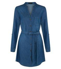 Robe chemise en jean à col grand-père - Bleu