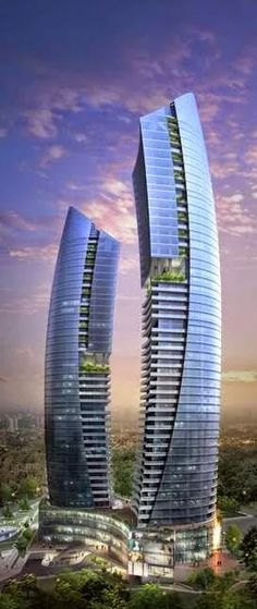 Crescent Towers, Azerbaijan Baku Residential Complex, Baku, Azerbaijan designed by Heerim Architects and Planners :: 37 and 46 floors [Futuristic Architecture Architecture Design, Architecture Antique, Futuristic Architecture, Beautiful Architecture, Classical Architecture, Computer Architecture, Chinese Architecture, Unusual Buildings, Interesting Buildings