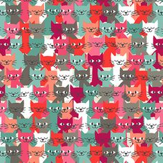 Makower UK - Cats - Happy Cats in Multi