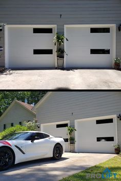 """Create a mid century modern vibe - affordably - with garage door windows arranged vertically. Shown here: Bright white steel doors with two elongated windows for each single door. The design lines are simple and clean to provide a modern yet minimalist look. 