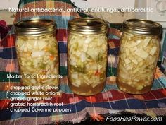 Master Tonic (Natural Antibiotic) - chopped garlic cloves, chopped white onions, grated ginger root, grated horseradish, chopped (cayenne) peppers, apple cider vinegar; Found on Heal Thyself on Facebook