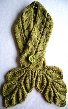 Leafy Scarf with Dorset button closure ~  Leafy Cabled Neckwarmer by Grace McEwen ~ pattern available on Ravelry for $4.50