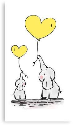 Canvas Print Elephant with Yellow Heart Shaped Balloon - Canvas Print Elephant with Yellow Heart Shaped Balloon Imágenes efectivas que le proporcionamos sob - Elephant Nursery Girl, Elephant Canvas, Elephant Theme, Nursery Art, Unique Drawings, Easy Drawings, Cute Elephant Drawing, Mothers Day Drawings, Flower Phone Wallpaper