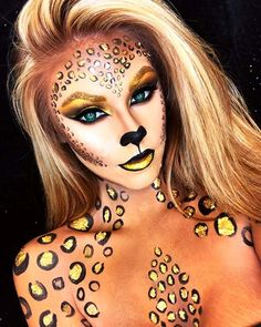 Make-Up Ideen Beautiful sparkling leopard halloween makeup Keeping Moisture Out Of Your House Articl Beautiful Halloween Makeup, Halloween Makeup Looks, Scary Halloween, Women Halloween, Adult Halloween, Halloween 2020, Halloween Halloween, Leopard Halloween Makeup, Mermaid Halloween Makeup