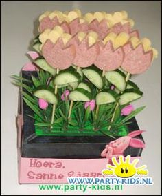 Worsten-tulpen en kaas-bloemen