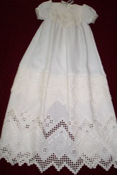Hardanger Christening Gown Christening Outfit, Baptism Dress, Christening Gowns, Types Of Embroidery, White Embroidery, Hand Embroidery, Blessing Dress, Hardanger Embroidery, Brazilian Embroidery