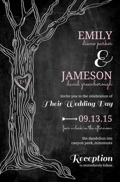 Pink Country Chalkboard Tree Wedding Invitation Template