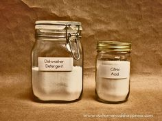 DIY Dishwasher Detergent for Hard Water or Soft Water from Our Homemade Happiness