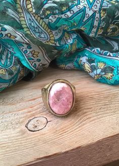Pink rose and white rodochrosite and brass ring, US size 8.5 by RingTheRing on Etsy