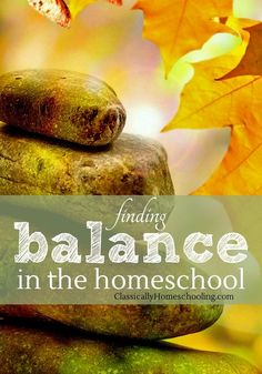 Finding balance in the homeschool is important for scholé. We're balancing between the needs of the homeschool and the needs of the house.