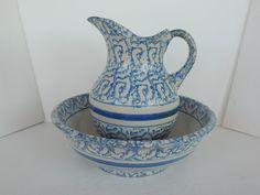 Antique Stoneware yelloware spongeware Pitcher basin blue band washbowl  625.00