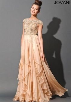 Jovani Prom 79132 - In Stock  Style Number:79132 - In Stock  Jovani Prom   Jovani sexy long chiffon gown features an embellished top bodice and an empire waistline with a beautiful tiered ruffle skirt   Our Price: $589.00