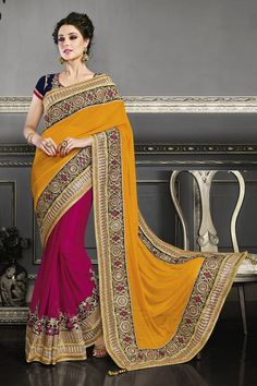 Buy Orange and Hot Pink Georgette and Net Designer Saree Online in low price at Variation. Huge collection of Designer Sarees for Wedding. #designer #designersarees #sarees #onlineshopping #latest #lowprice #variation. To see more - https://www.variationfashion.com/collections/designer-sarees
