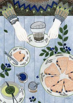 Scones and tea illustration - love the drawing style Art And Illustration, Illustrations And Posters, Drawn Art, Illustrators, Art Drawings, Artsy, Art Prints, Blueberry Scones, Blueberry Breakfast