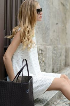 White. Carved. Stripes. Day Dress. Short Dress. Loose. Spring Dress. Sleeveless. Neck High.