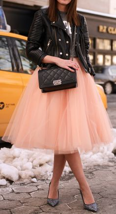Tulle + leather