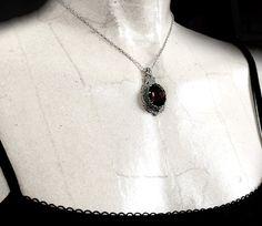 Black Swarovski Necklace Vintage Style Silver Filigree by Aranwen