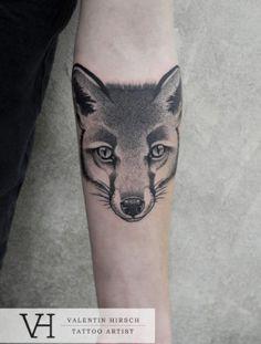 Fox tattoo by Valentin Hirsch Colour Tattoo, Fox Tattoo, Chest Piece, Creative Tattoos, Body Painting, Tattoo Designs, Tattoo Ideas, Tattoo Artists, Piercings