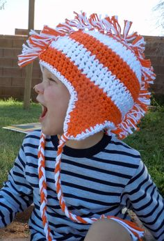 Crochet Striped Mohawk Earflap Beanie Hat