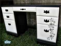 Black stencil on white furniture - pretty!  this is what i want to do to your dresser.