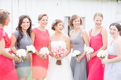 Bride With Bridesmaids in Mismatched Gray & Coral Dresses