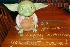Stand up Yoda Birthday Cake.