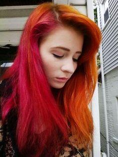 splithair rouge et orange coloration cheveux mches balayage monvanityideal - Coloration Cheveux Auburn