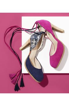 Adoring the fringe tassels that dangle from these sleek d'Orsay pumps! Too cute.