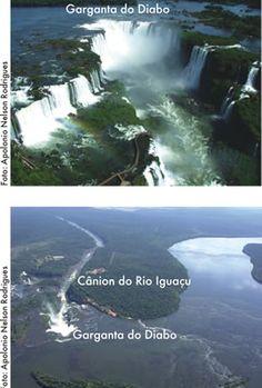 Cataratas do Iguaçu. Registro da separação continental América do Sul - África. Cânion do Rio Iguaçu. Garganta do Diabo. Parque Nacional do Iguaçu. Serviço Geológico do Paraná - Mineropar.
