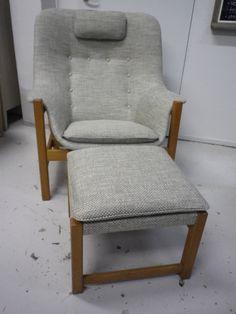 50-60 luvun Hiort af Ornäs tuoli ja rahi uusi verhoilu ja uudet pehmusteet