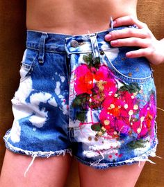 vintage kitty: hand. funk.d. bleach.d out vintage high-waisted denim shorts are supa kitty kute. To purchase, contact Top Kitty Cat at onwardkitty@gmail.com.