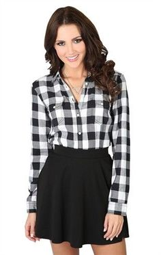 Deb Shops Roll Tab Sleeve Cotton Blouse with Buffalo #Plaid and Button Front $17.92