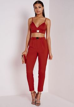 Gold Buckle Cigarette Trousers Rust - Trousers - Missguided