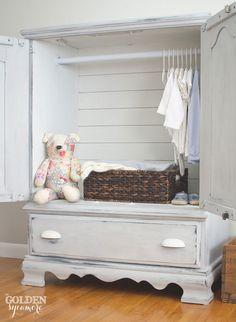 Turn a tv entertainment center into a child's armoire   via www.thegoldensycamore.com