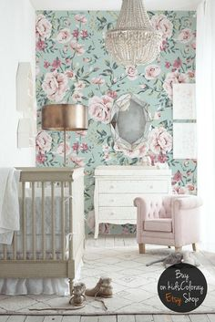 Nursery, Floral Wallpaper, Vintage Wall Mural, Pastel, Roses, Baby  Wallpaper,