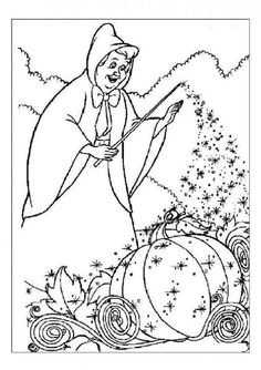 Coloring Pages Of Fairy Godmother Making Cinderellas Vehicle Out Pumpkin