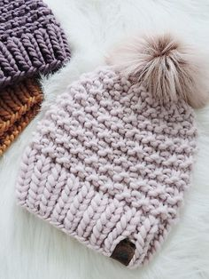 I'm back with a super bulky knit hat pattern with the softest . I'm back with a super bulky knit hat pattern with the softest . Baby Knitting Patterns, Loom Knitting, Free Knitting, Crochet Patterns, Loom Knit Hat, Circular Knitting Patterns, Yarn Projects, Crochet Projects, Quick Knitting Projects