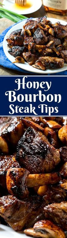 Honey Bourbon Steak Bites are seared in a cast iron pan until charred on the outside but still juicy on the inside. They are both sweet and salty with the wonderful flavor of bourbon. Honey Bourbon Steak Tips Meat Recipes, Cooking Recipes, Oven Recipes, Sirloin Recipes, Kabob Recipes, Fondue Recipes, Ihop Sirloin Tips Recipe, Gastronomia, Gourmet