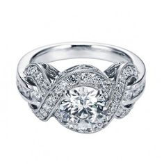 Antique Style Halo Diamond Engagement Ring Setting with a Twisted/Criss Cross Halo and Channel Set and Pave Set Diamonds (Shown here with a Round center stone) ER5476W44JJ