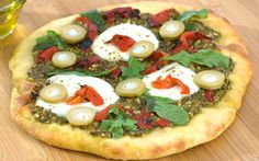 Pesto and Roasted Pepper Pizza with Blue Cheese Olives