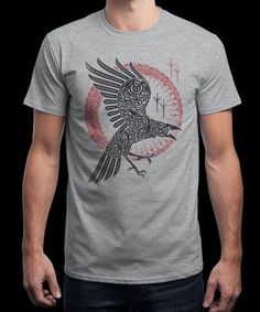 """""""RAGNAR'S RAVEN"""" is today's £9/€11/$12 tee for 24 hours only on www.Qwertee.com Pin this for a chance to win a FREE TEE this weekend. Follow us on pinterest.com/qwertee for a second! Thanks:)"""