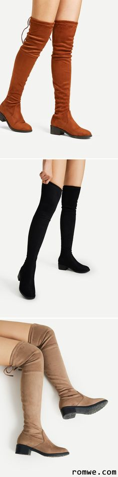 Lace Up Detail Block Thigh High Heeled Boots http://www.allthingsvogue.com/best-affordable-over-the-knee-boots/