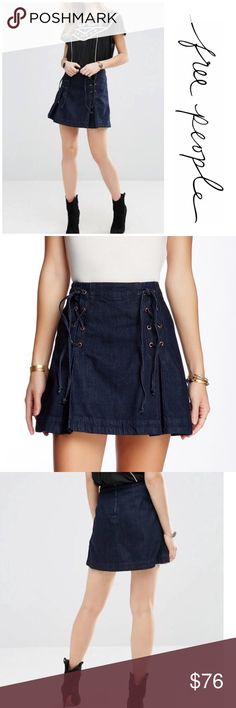 "NWT Free People Denim Lace Up Skirt Brand new with tags free People Denim Lace up skirt. Hook and eye closure on the back with zipper. Measurements laying flat waist 14""/ length 16"". Made of 100% cotton. Perfect to pair with tights and boots for fall/winter look. NO TRADES Free People Skirts A-Line or Full"