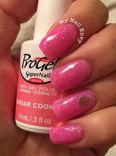 Sugar Cookie – My Nail Envy  ProGel, sheer pink glitter nails, summer nails, gel polish, accent nail