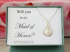Will you be my Maid of Honor Gift sterling silver by SilverStamped