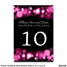 Winter Wedding Table Number Pink Table Cards