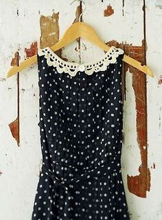 Black and white polka dot dress with crochet lace collar. DIY sewing idea?