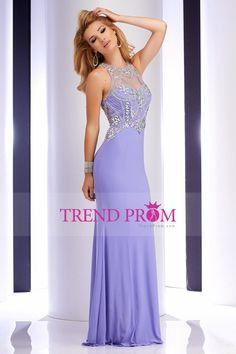 2016 Prom Dresses Scoop Beaded Bodice Floor Length Spandex Sheath